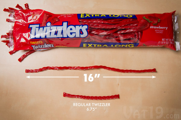 Extra Long Twizzlers are more than twice the length of a standard Twizzler.