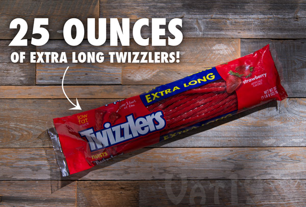 Each pack of Extra Long Twizzlers contains over 1.5 pounds of delicious Twizzler candy.