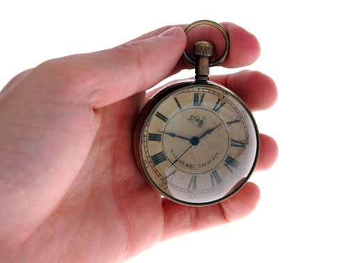 The Eye of Time clock is small, yet easy to read.