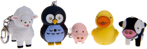 Farm Animal Keychains - Sheep, Owl, Pig, Duck, and Cow