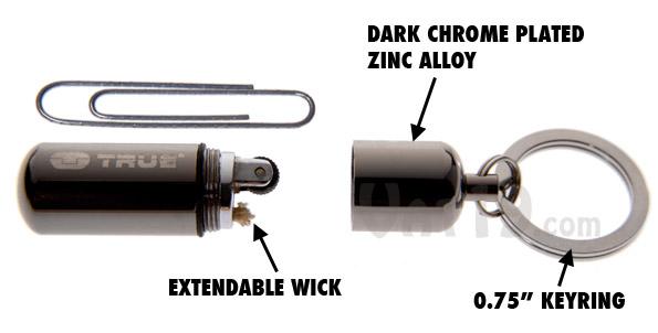 The FireStash Miniature Lighter features a dark chrome zinc alloy exterior, extendable wick, and high quality flint wheel.