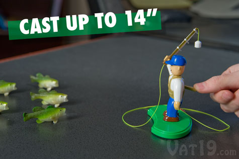 You control the distance and release of the cast. Send the magnetic lure flying up to 14 inches.