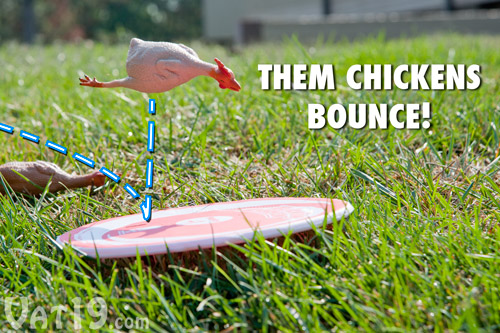 The rubber chickens in Flickin' Chicken game will bounce and roll.