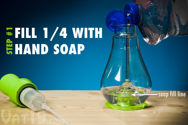 Begin by filling the Foam Soap Dispenser with liquid hand soap.