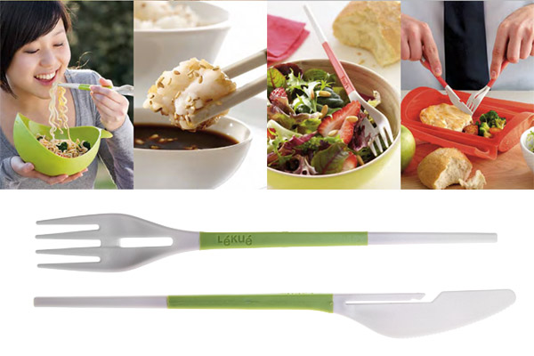 Pictures demonstrating how to use the fork and knife chopsticks.