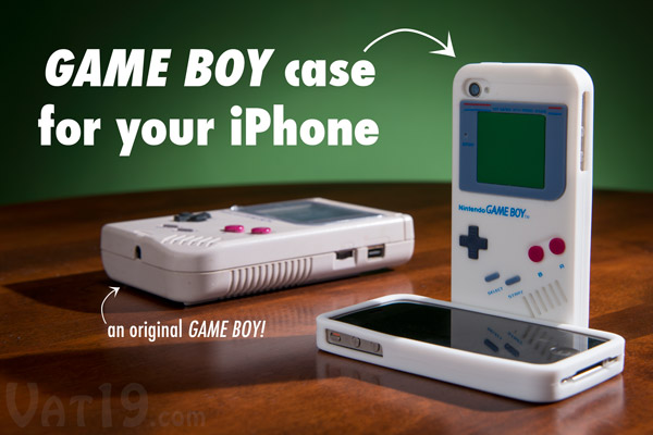 iPhone 4/4S silicone case that looks like an original Game Boy.