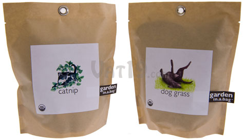 Choose from catnip and dog grass.
