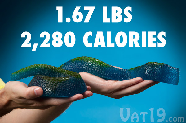 The Giant Gummy King Snake packs a whopping 2,280 calories.
