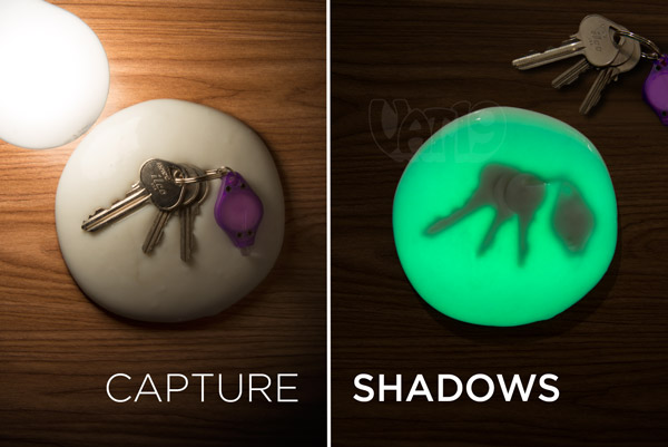 Imprint the silhouette of objects using Glow in the Dark Putty and a light bulb.