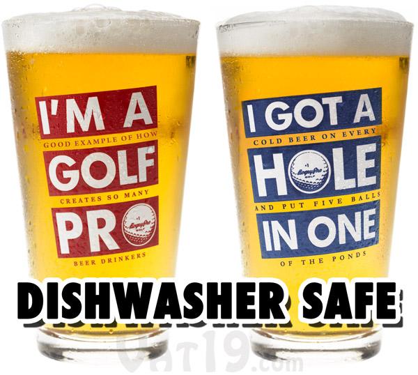 Our Golf Beer Glasses are dishwasher safe.