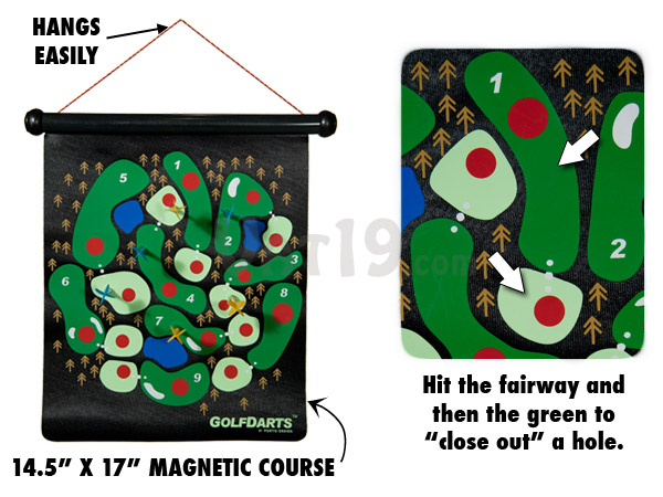 Golf Darts features a large magnetic course.