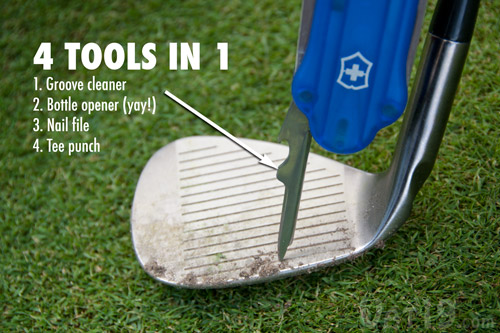 The GolfTool features a Tee Punch with groove cleaner, bottle opener, and nail file.