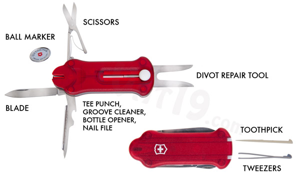 The Swiss Army Golf Tool features 10 handy tools.