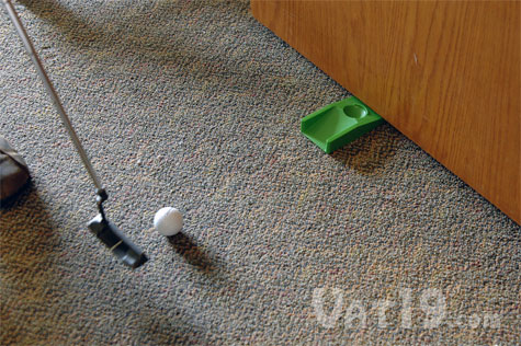 Use the Golfer's Doorstop to practice your putting
