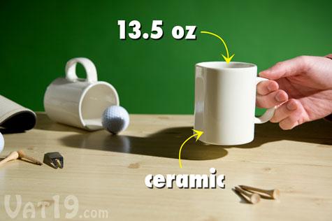 The Golfer's Coffee Mug holds 13.5oz of liquid.