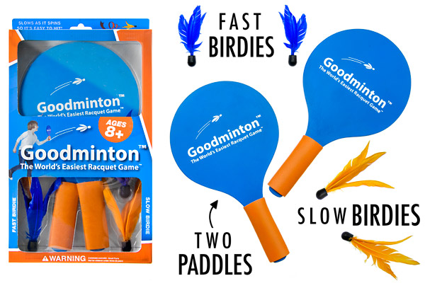 Each set of Goodminton includes two paddles and four birdies.