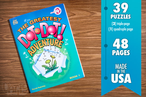 The Greatest Dot-to-Dot Adventure book is made in the USA and features 48 pages.