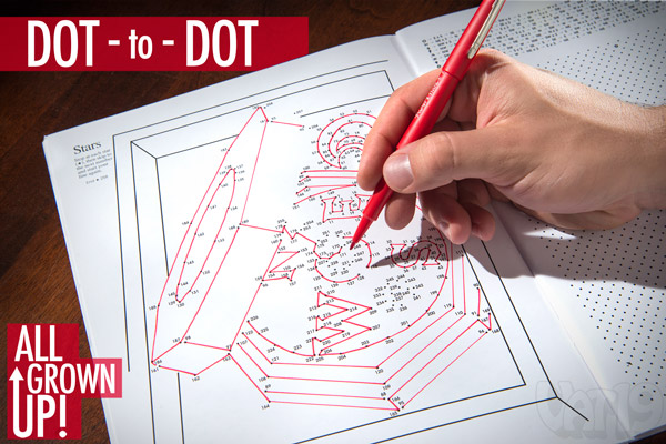 Man working on a difficult Dot-to-Dot puzzle.