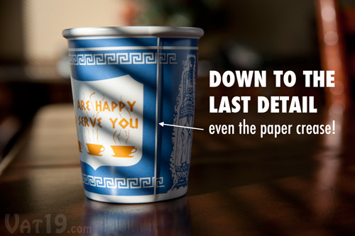 We Are Happy To Serve You Cup is exclusively licensed and dutifully copied down to the last detail.