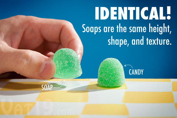Goodie Gumdrop Soaps look nearly identical to the traditional candy.