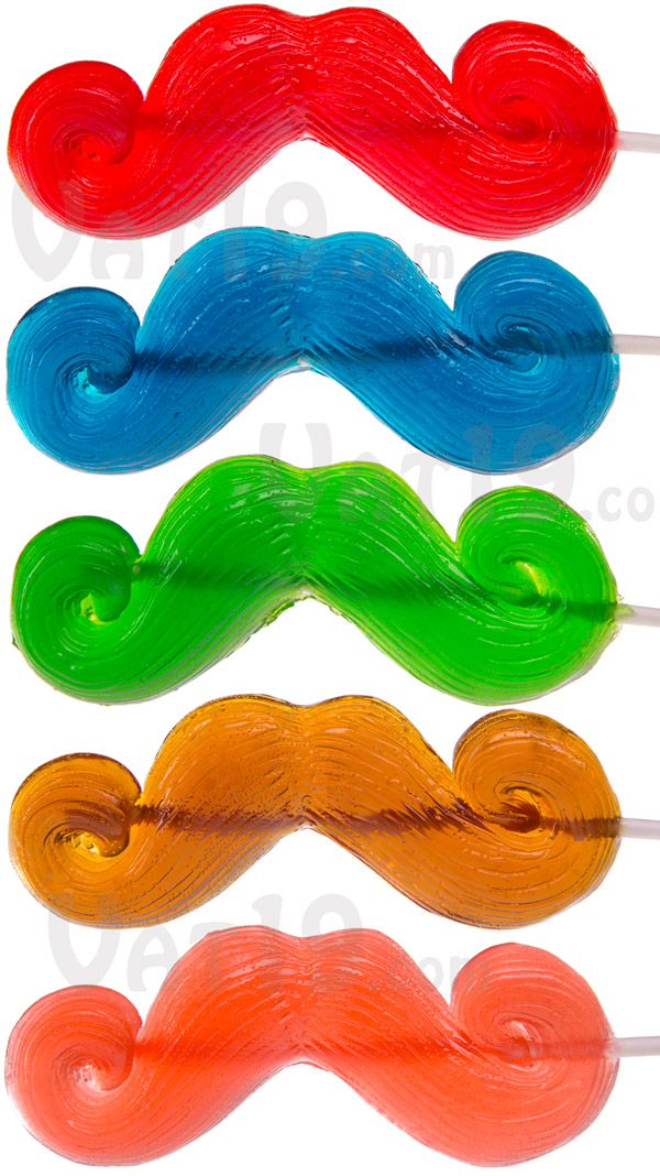 Choose from a variety of delicious flavors of gummy mustaches.