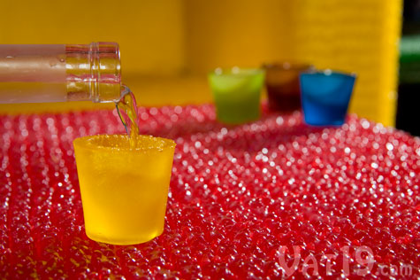 Edible shot glasses made from gummy.