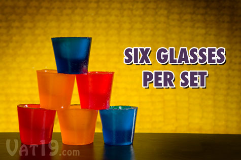 Each set includes six gummy shot glasses.