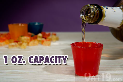 Gummy Shot Glasses feature a volume capacity of one fluid ounce.