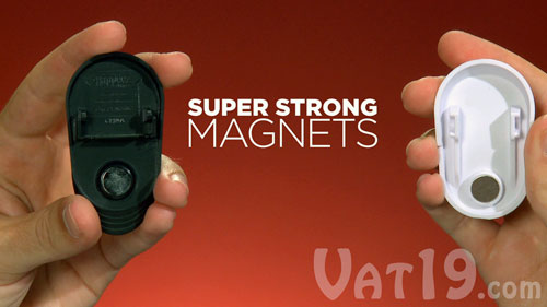 The gripping power of the Happeez Clips is produced by the super-strong magnets inside of it.