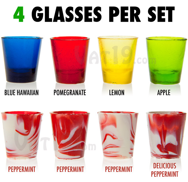 Hard Candy Shot Glasses come in a variety of 4-packs.