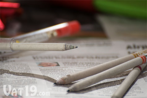 Holiday Smencils are made from recycled newspaper and then soaked in gourmet fragrances.