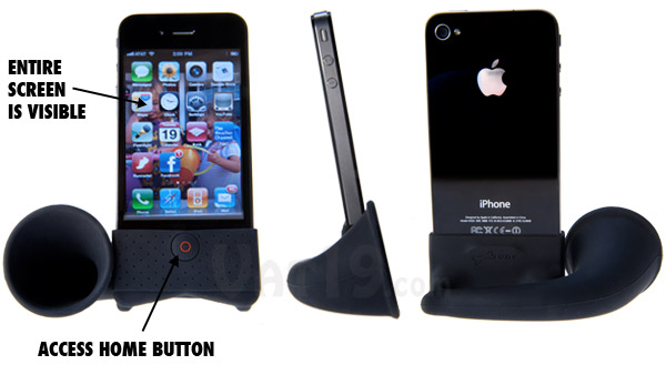 The iPhone Horn stand from multiple angles.