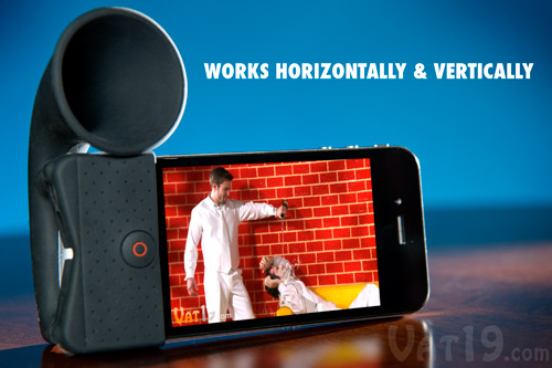 The iPhone Horn Stand works both vertically and horizontally.