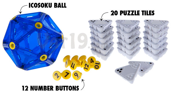 The IcoSoKu game includes 12 number buttons and 20 puzzle tiles.