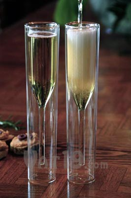 Inside Out Champagne Glasses are mouth-blown
