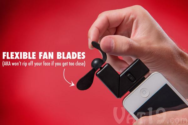 iPhone Fan Attachment features soft, flexible foam fan blades.