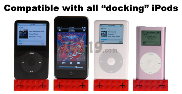 iPod Lego Speakers are compatible with all docking ipods