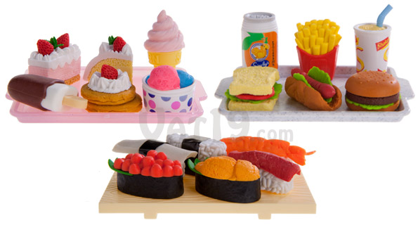Japanese Food Erasers are available in dessert, fast food, and sushi sets.
