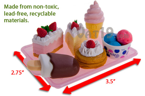 Japanese Food Erasers are made from non-toxic, lead-free recyclable materials.