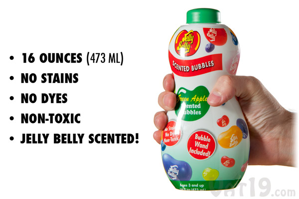 Jelly Belly Scented Bubbles are non-toxic, non staining, and feature no dyes.