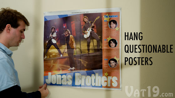Use Joe's Sticky Stuff to hang posters without damaging the wall.