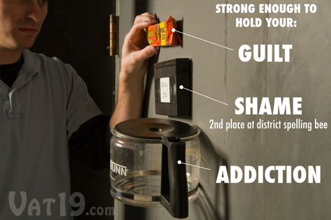 Joe's Sticky Stuff is strong enough to hold a coffee pot on a wall.