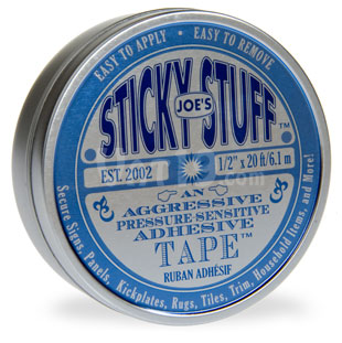 Joe's Sticky Stuff double sided adhesive tape is packaged in an attractive tin.