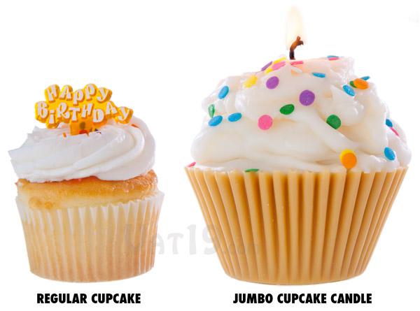 Jumbo Cupcake Candle versus a regular cupcake.