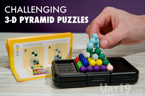Once you have solved all of the 2-D puzzles, move on to the more challenging 3-D puzzles.
