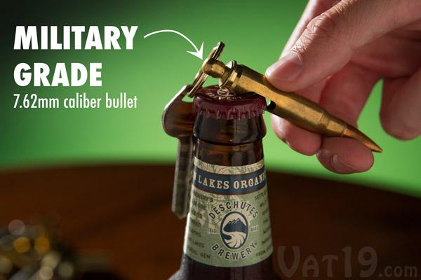 Keychain Bullet Bottle Opener opening a beer.