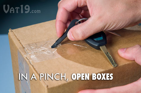In a pinch, you can use the Keychain Screwdriver set to open a box