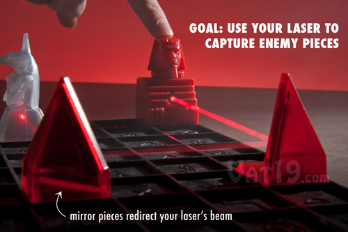 The Khet Laser Game uses real lasers which are eye safe.