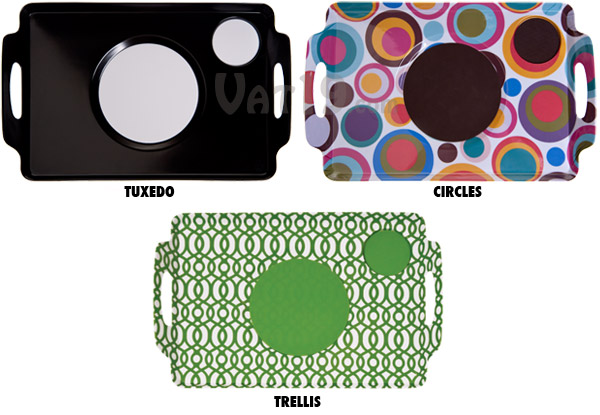 Buy either the Tuxedo, Circle, or Trellis Design Lapper Dinner Trays.