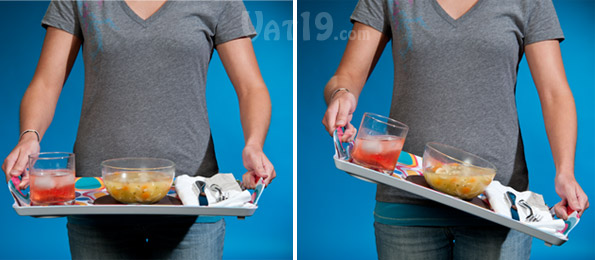 Lapper Dinner Trays can be tilted dramatically without slipping or spilling.